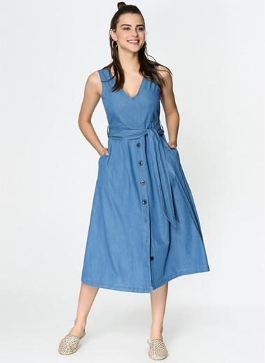 Loves You Ön Arka V Eteği Çan Denim Elbise Mavi